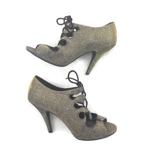Fioni Night Gold Glitter Metallic Tie Up Heels